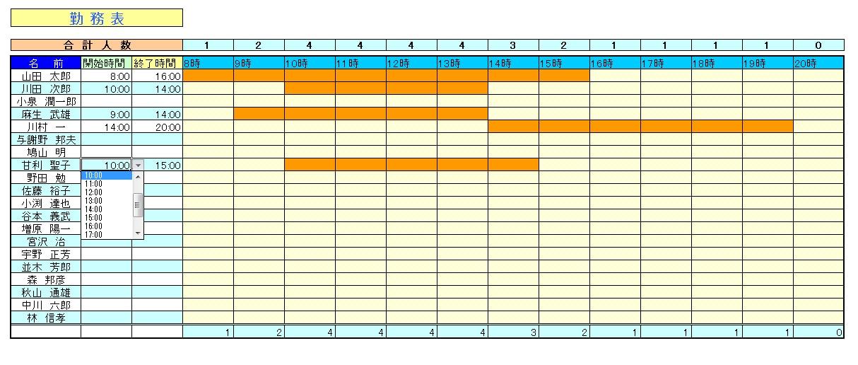 すべての講義 1週間スケジュール表 : 出勤・退勤の時刻を選択肢から ...