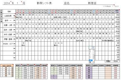 勤務パターンで選ぶシフト表1