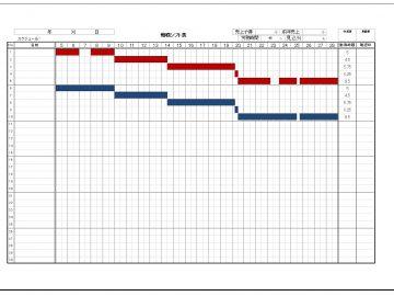 ガントチャートのシフト表 印刷イメージ