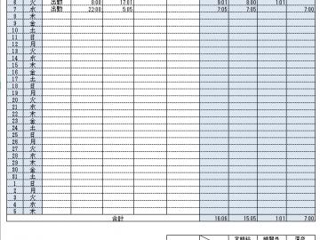 入力の作業効率のよい勤怠管理表テンプレート