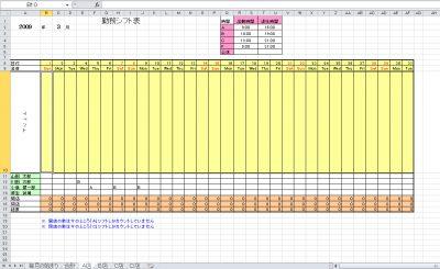 複数店舗管理可能なシフト表