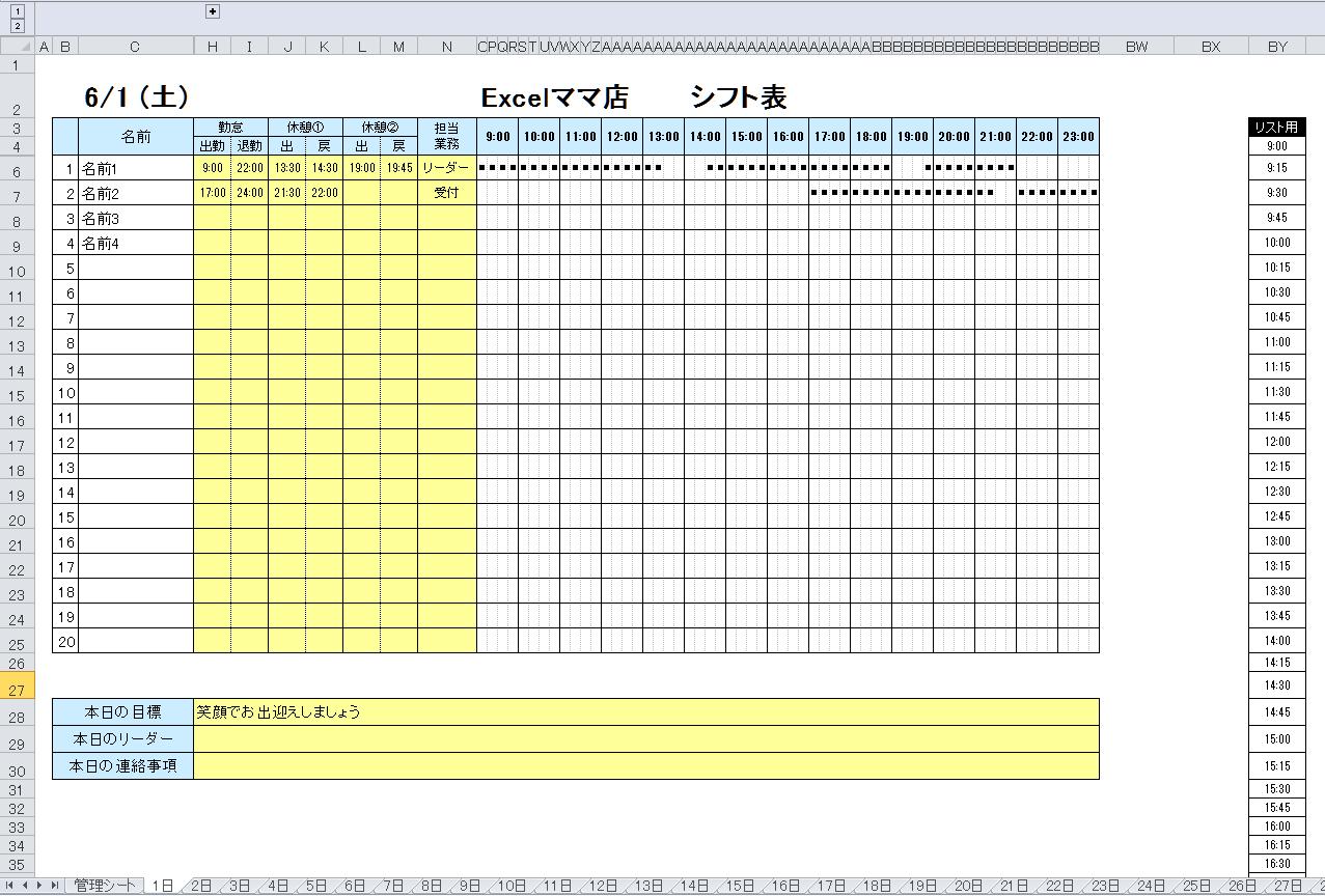 ガンチョチャート シフト表
